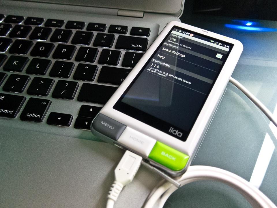 INFOBAR A01 と Mac で通信、EasyTether で USB テザリング